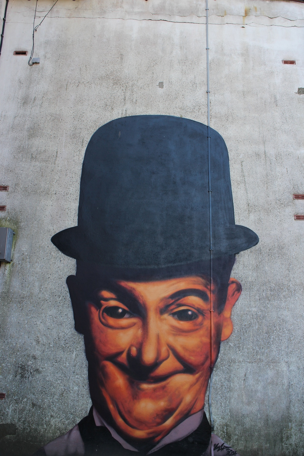 Mural of Stan Laurel in Ulverston