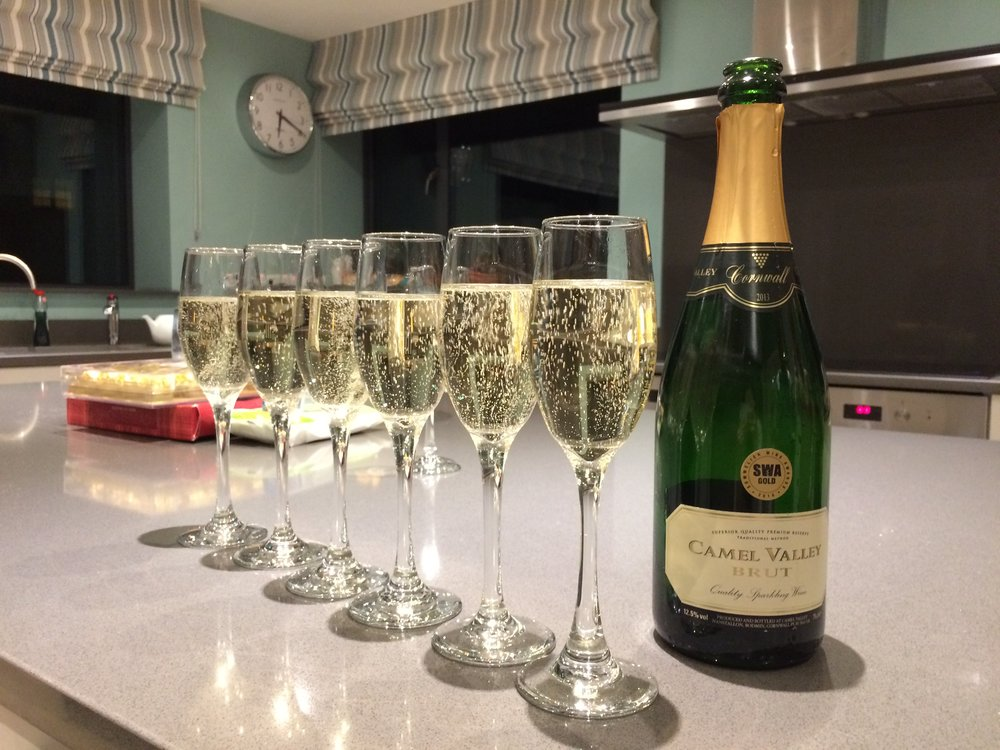 Camel Valley sparkling wine awaited us at Seamist (Image: Ellie Ross)