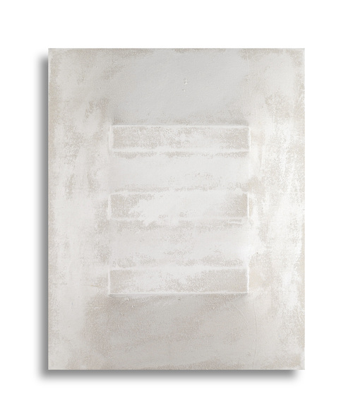 There's a Block in the Void   (1240) , 2015, gesso on shaped canvas,20 x 16 x 4 3/4 in. *