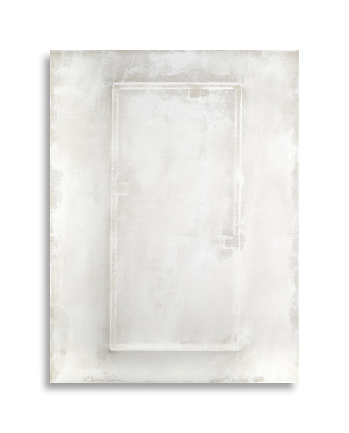There's a Block in the Void   (1272) , 2015, gesso on shaped canvas, 48 x 36 x 3.75 in. *