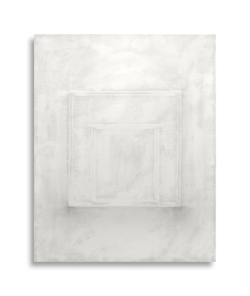There's a Block in the Void (1240) ,  gesso on shaped canvas , 20 x 16 x 4.75 in. *