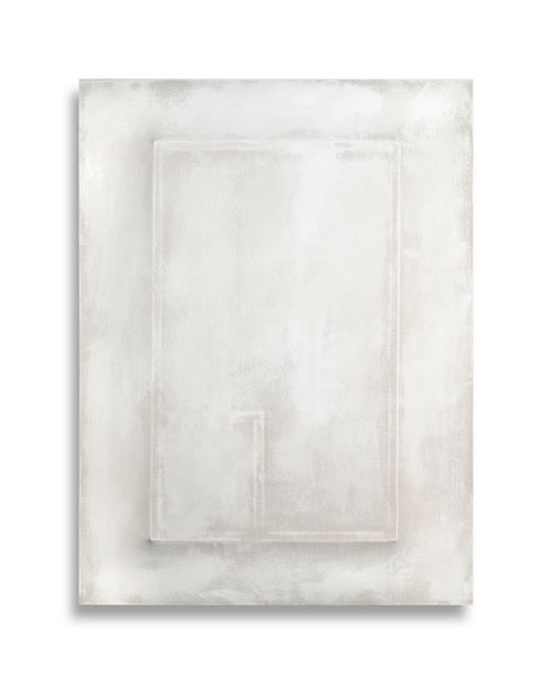 There's a Block in the Void    (1273) , 2015, gesso on shaped canvas, 48 x 36 x 4 in. *