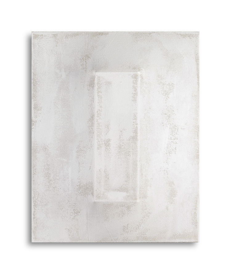 There's a Block in the Void   (1244) , 2015, gesso on shaped canvas,20 x 16 x 3 1/8 in. *