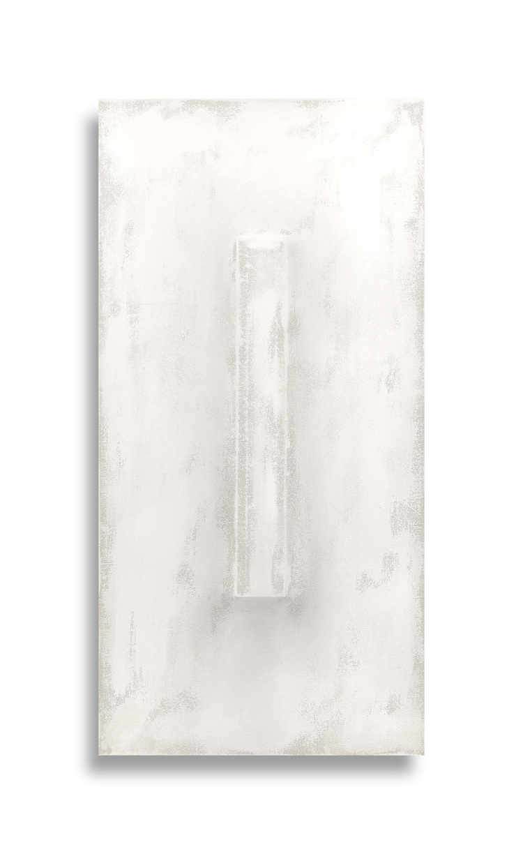 There's a Block in the Void   (1276) , 2015, gesso on shaped canvas 48 x 24 x 4 in. *