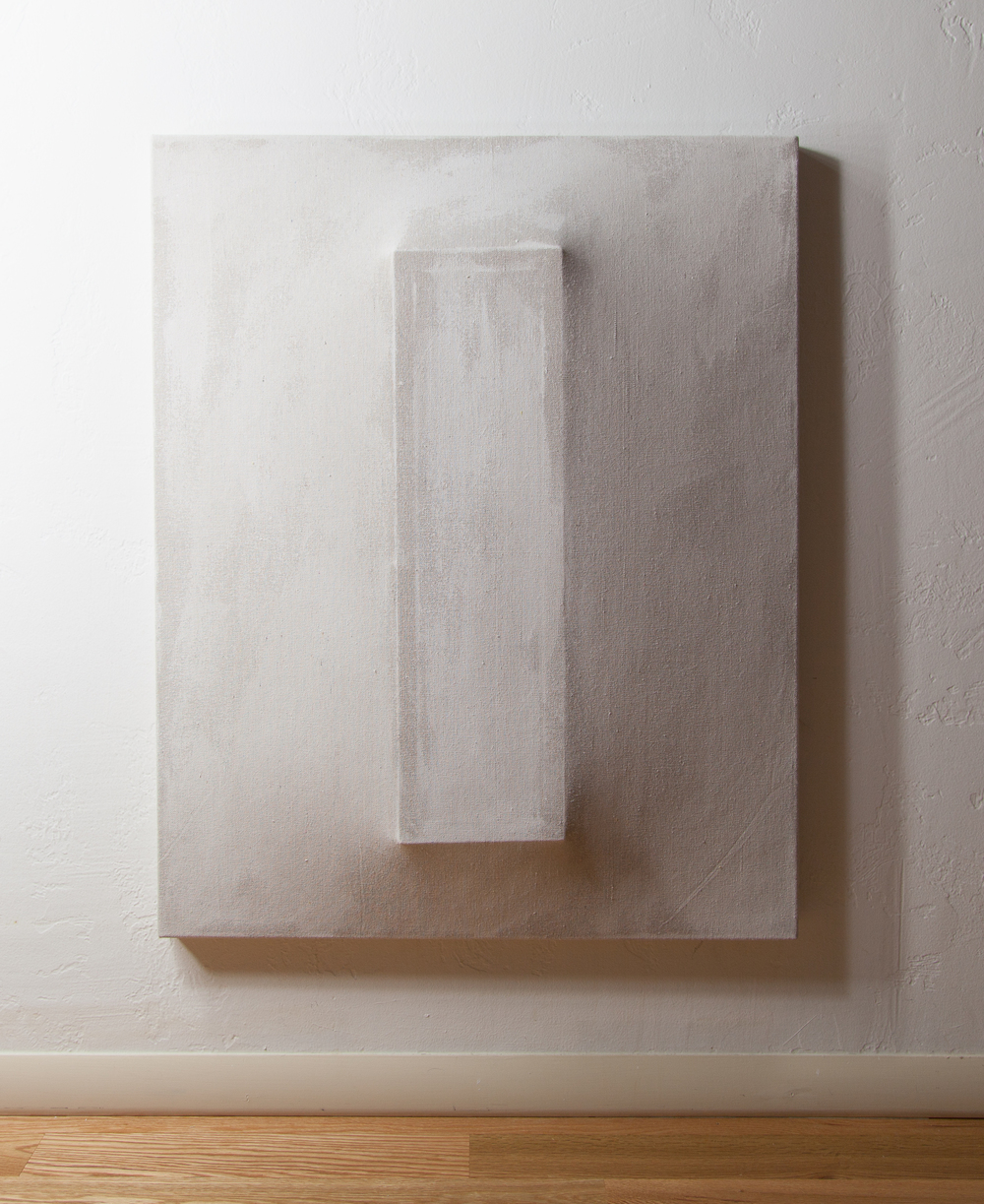 There's a Block in the Void (1242), gesso on shaped canvas,30 x 24, Installation, *