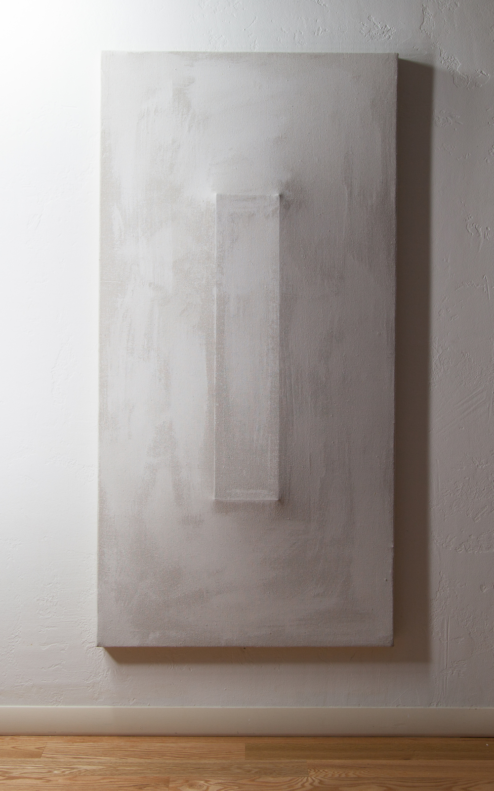 There's a Block in the Void (1020),  2015, gesso on shaped canvas, 48 x 24 in., Installation *