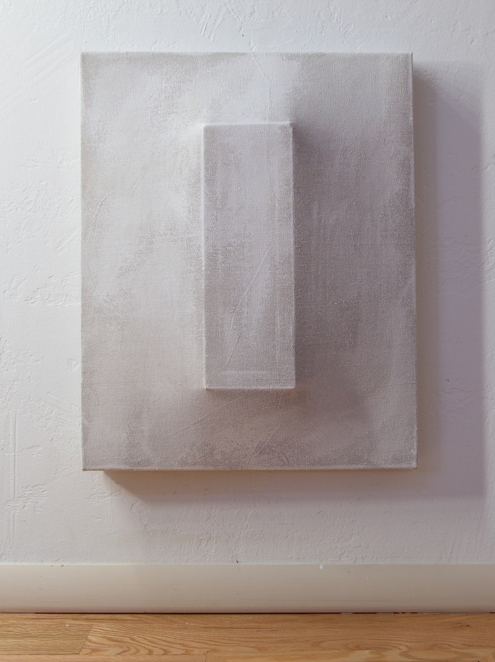 There's a Block in the Void (1243) , 2015, gesso on shaped canvas, 30 x 24 inches, Installation *