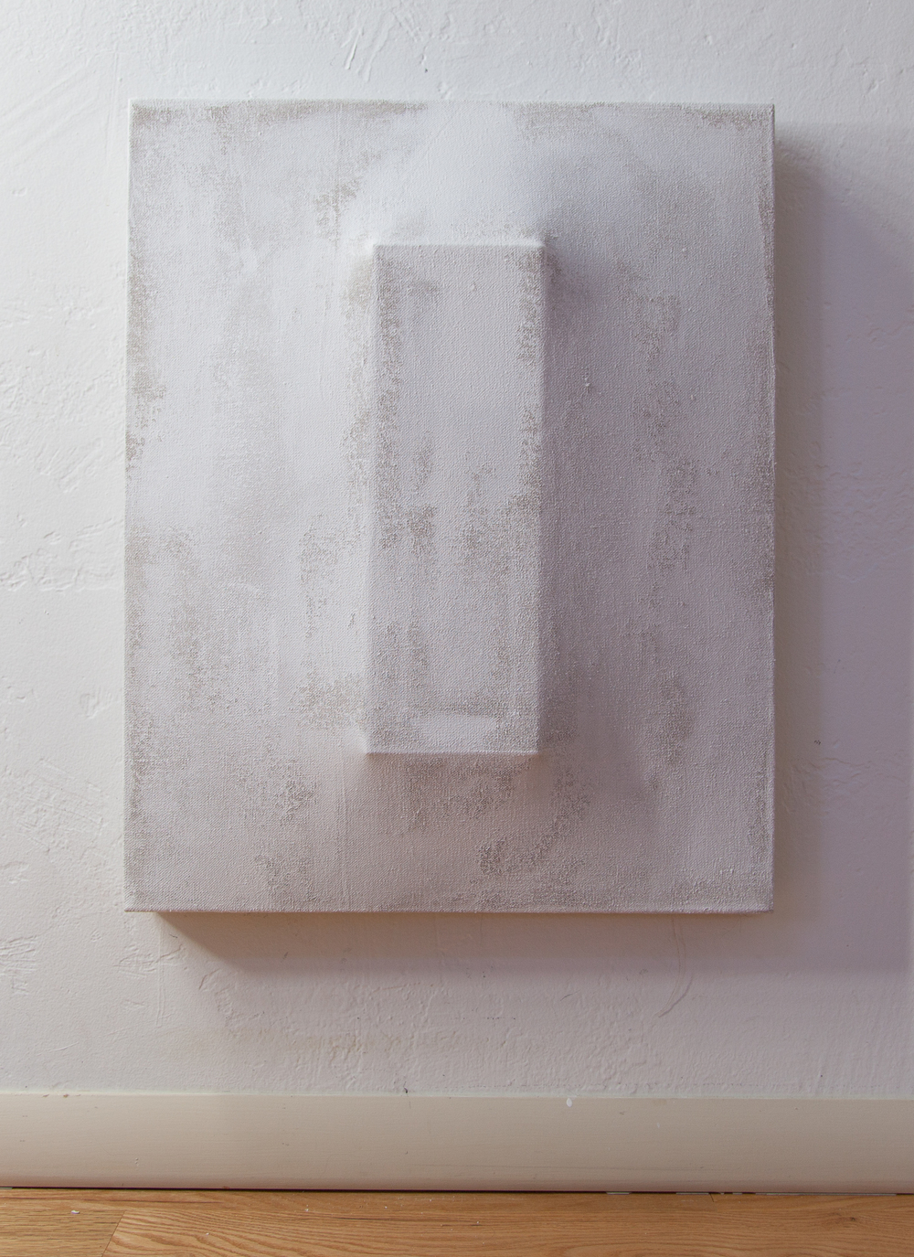 There's a Block in the Void (1244) , 2015, gesso on shaped canvas, 20 x 16 inches, Installation *