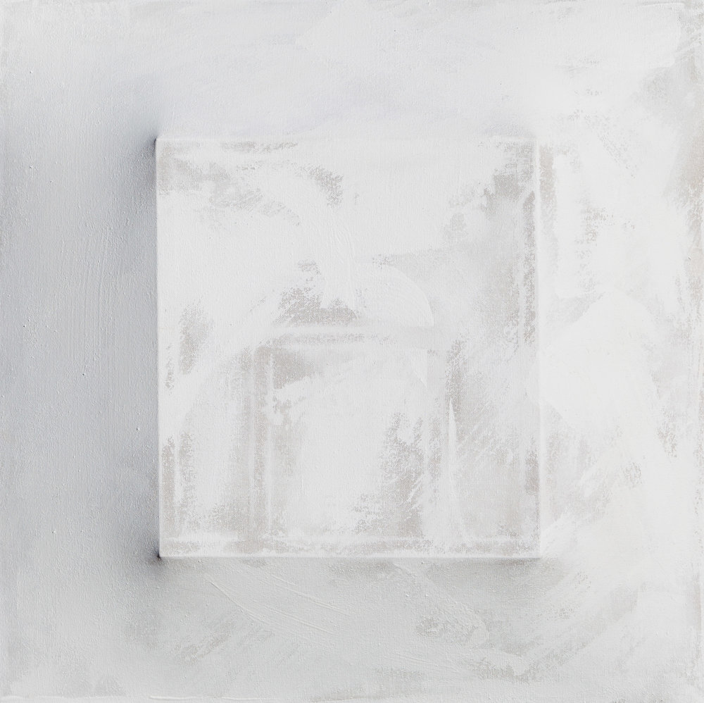 There's a Block in the Void (1283) , 2017, gesso on shaped canvas, 30 x 30 x 4.5 in., *