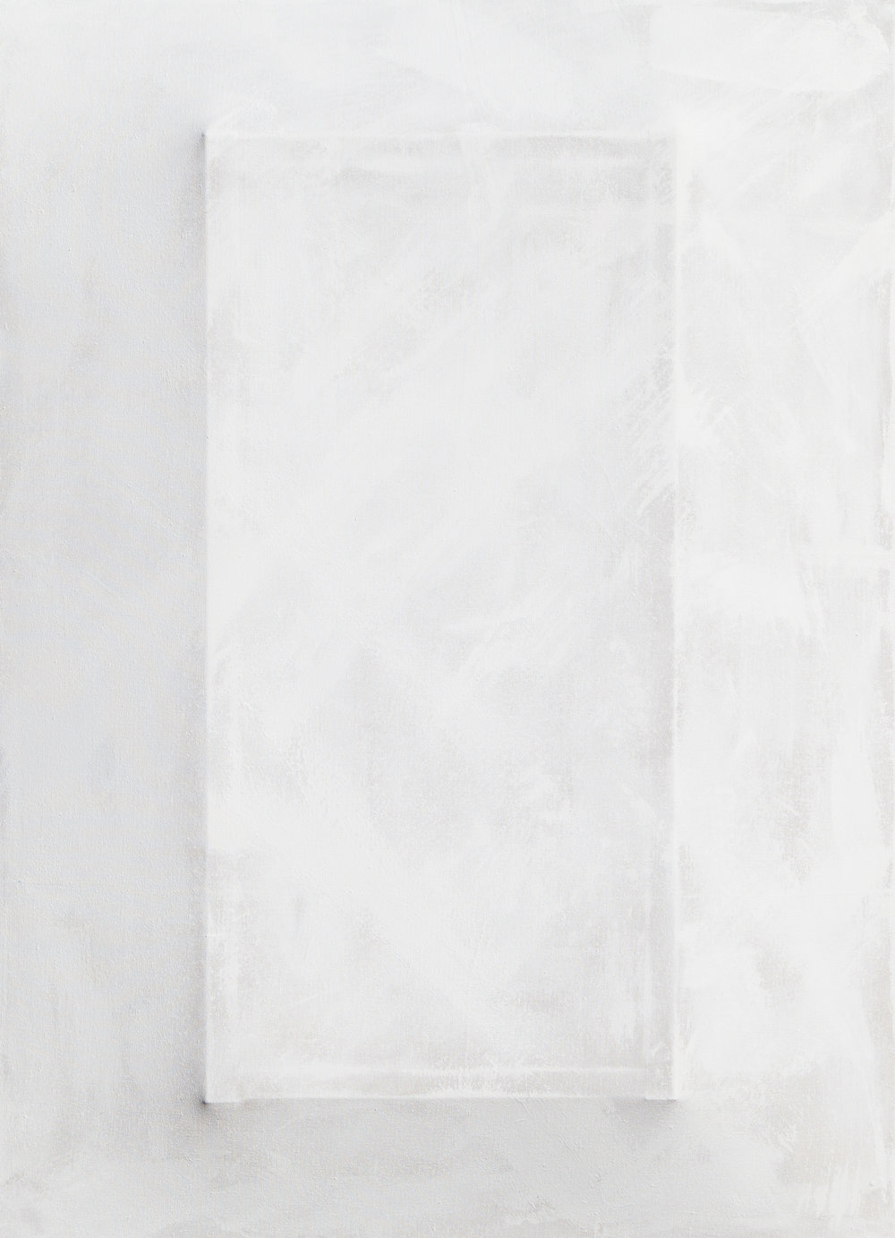 There's a Block in the Void (9598) , 2017, gesso on shaped canvas, 49.5 x 36 x 4.25 in.