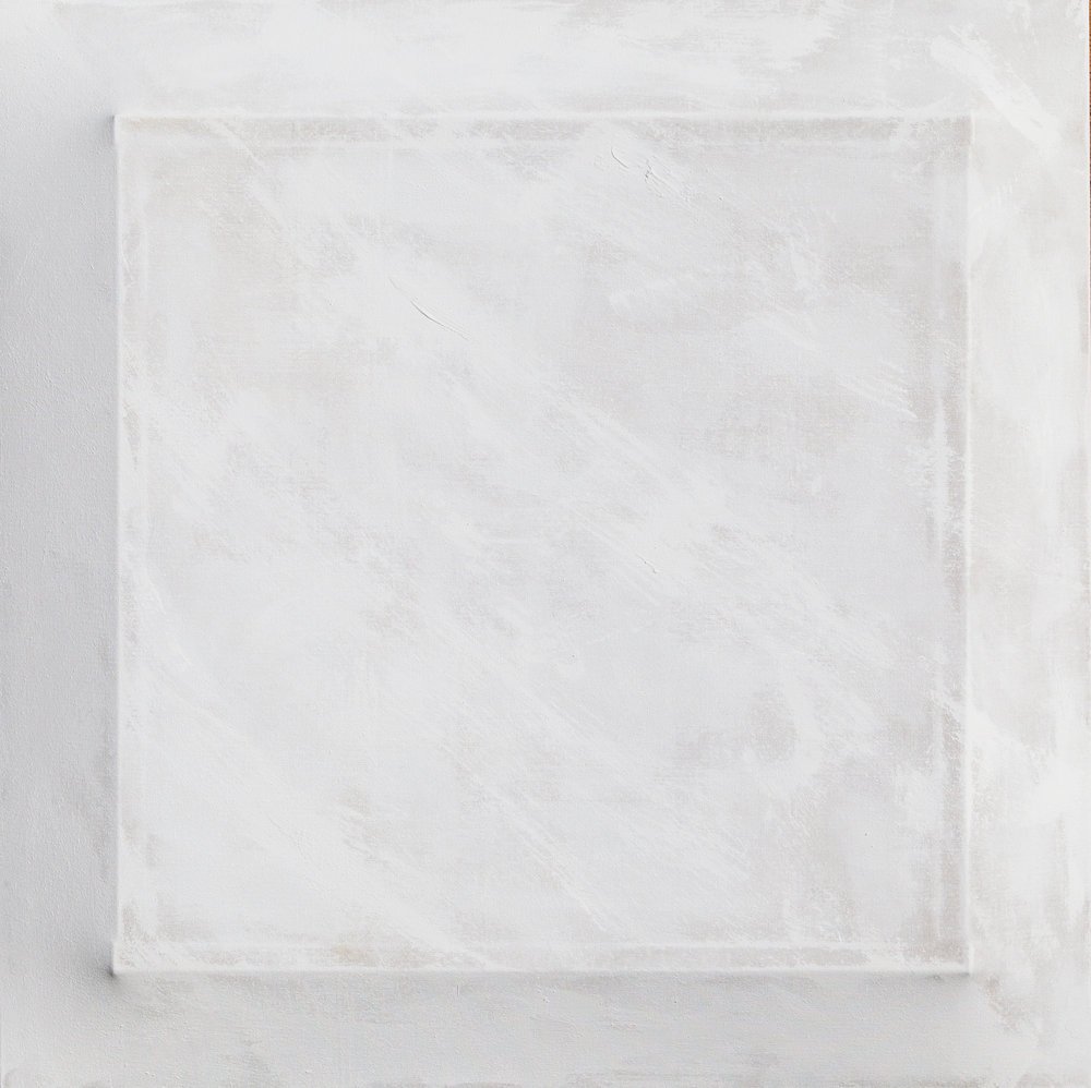 There's a Block in the Void (9735) , 2017, gesso on shaped canvas, 44 x 44 x 4.25 in.