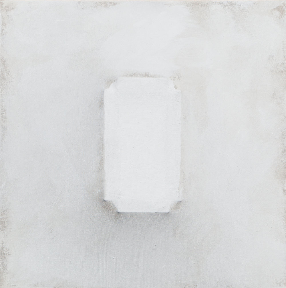 There's a Block in the Void (1239) , 2014-17, gesso on shaped canvas, 18.5 x 18.5 x 4 in.