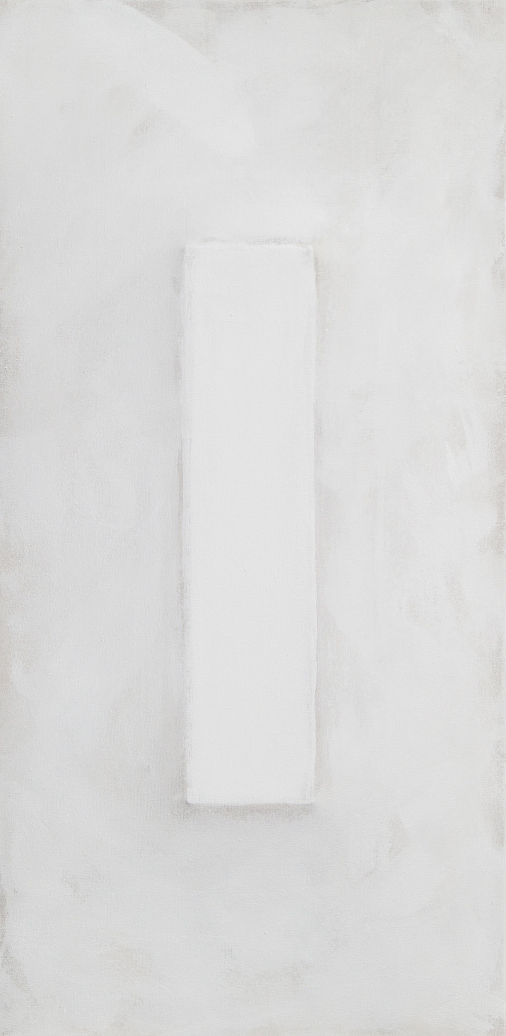 There's a Block in the Void (1723) , 2017, gesso on shaped canvas, 48 x 24 x 3 in.*