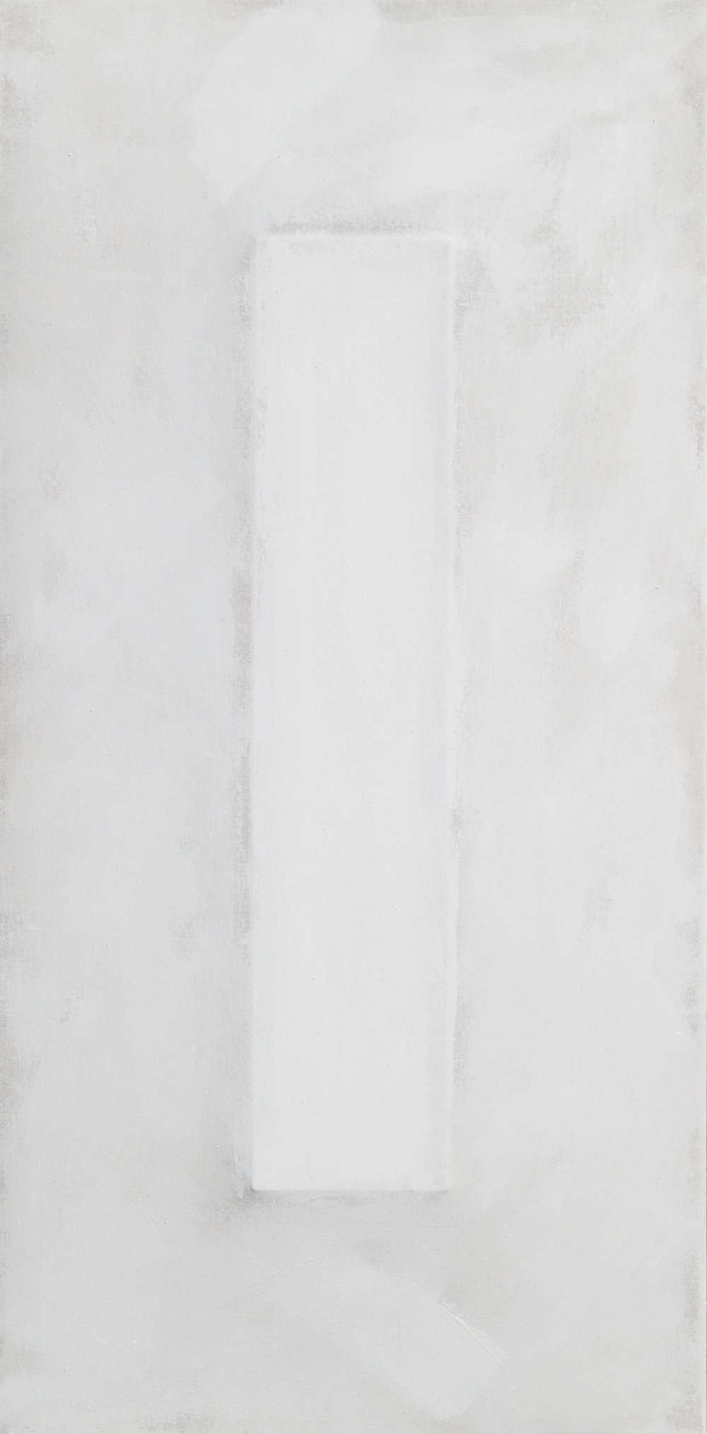 There's a Block in the Void (1726) , 2017, gesso on shaped canvas, 48 x 24 x 3 in.