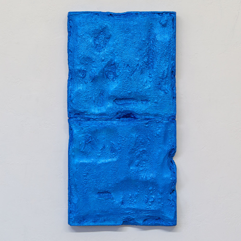 There's a Block in the Void (Marfa, Texas) , Dec 2017, gesso and mixed media, 35 x 17.5 in