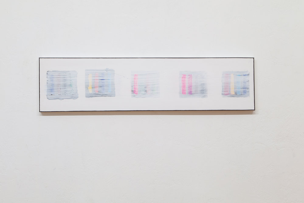 Blocks (Five Images Boise Idaho) , 2018, gesso and mixed media on canvas, 12 x 48 in.