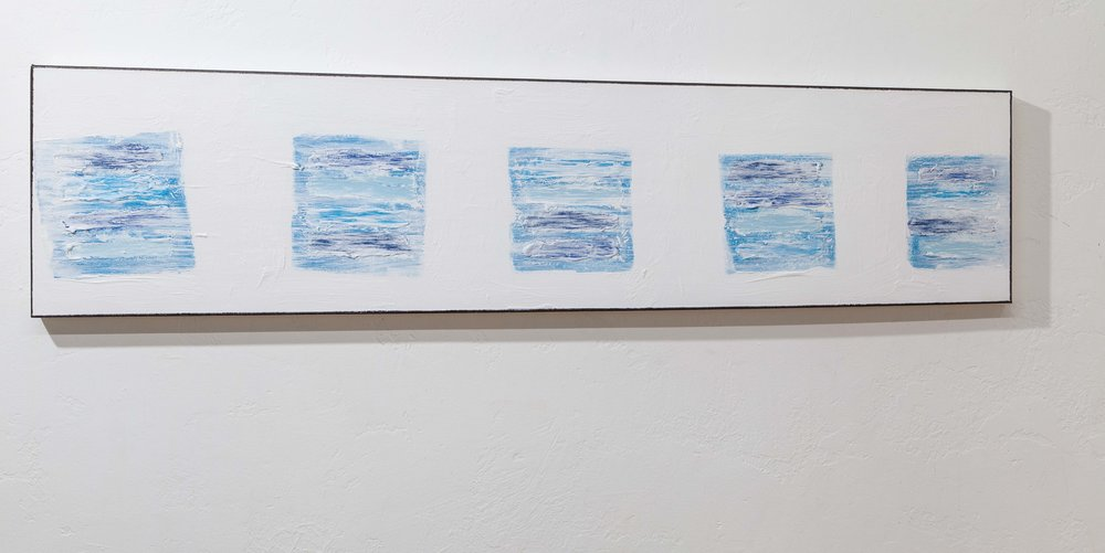 Blocks (Five Blue Images Dana Point ), 2018, gesso, mixed media on canvas, 12 x 48 in. *
