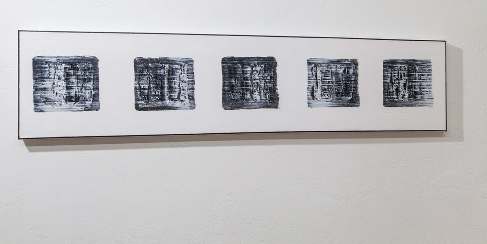 Blocks (Five Black Images New York, NY) , 2018, gesso, mixed media on canvas, 12 x 48 in. *