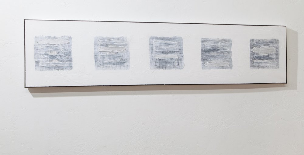 Blocks (Five Gray Images Seattle) , 2018, gesso, mixed media on canvas, 12 x 48 in. *