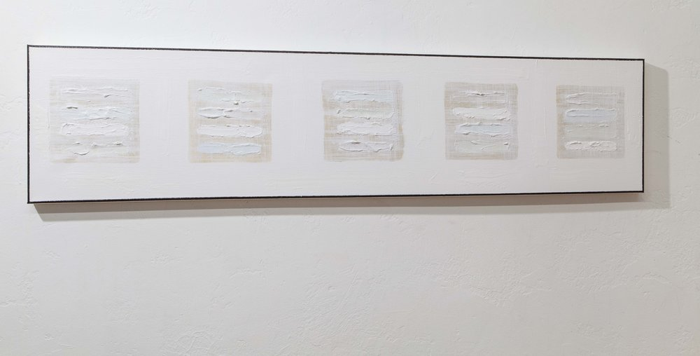Blocks (Five White Images Palm Springs) , 2018, gesso and mixed media on canvas, 12 x 48 in. *