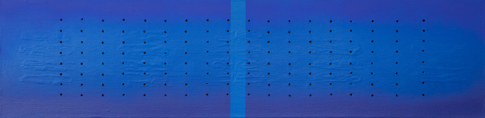 Deep Blue Grid , 2018, oil and acrylic on canvas, 12 x 48 in.