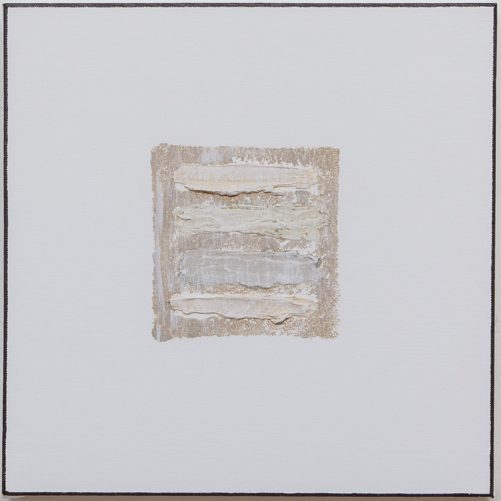 Avignon , 2018, mixed media, gesso on canvas, 16 x 16.