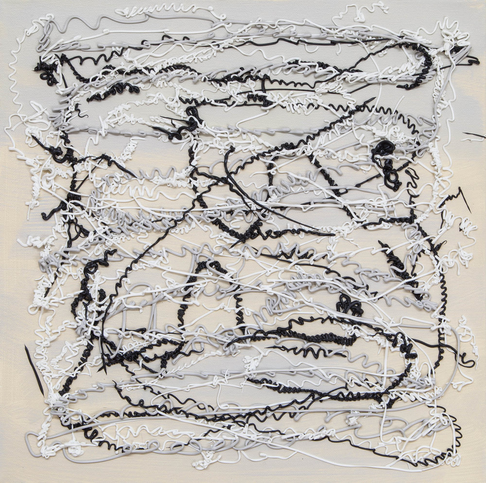 Lines: Majorca Lace , 2018, mixed media, gesso on canvas, 16 x 16