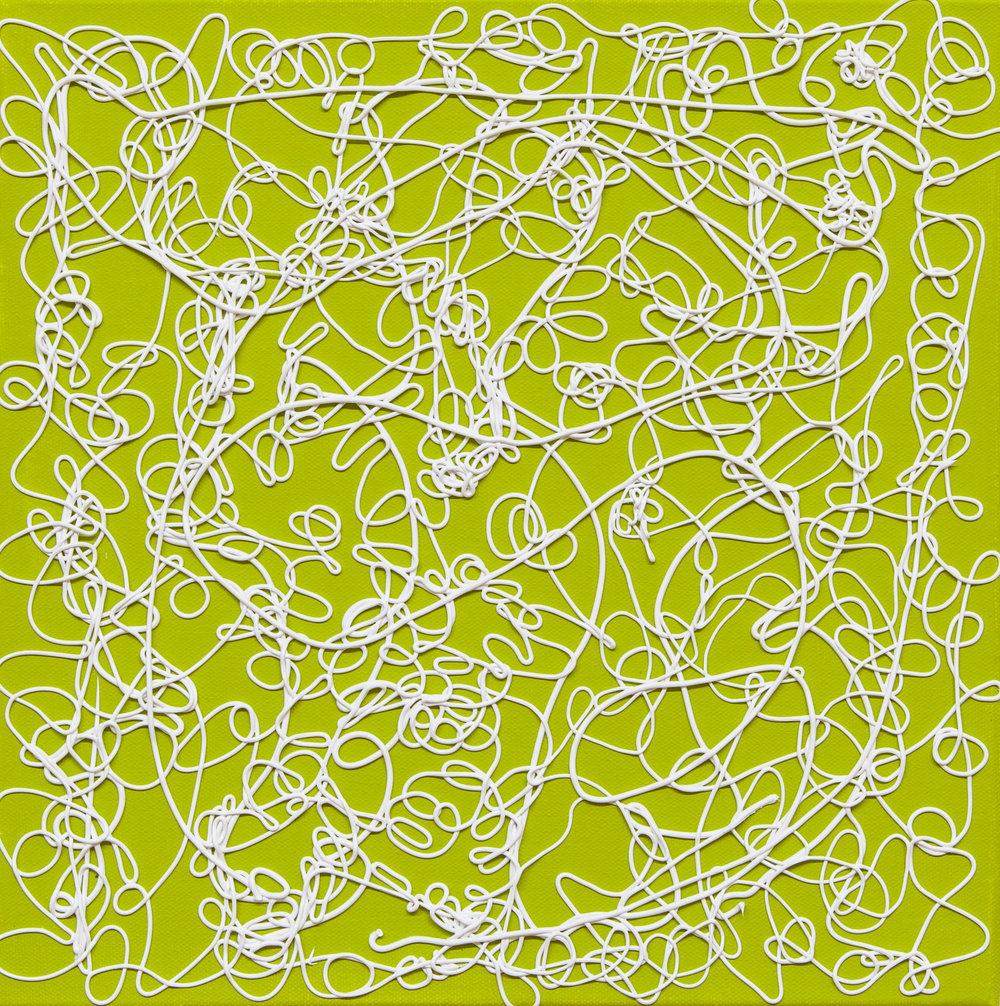 Olive Lace  (small), mixed media, gesso on canvas, 2018, 12 x 12 in.