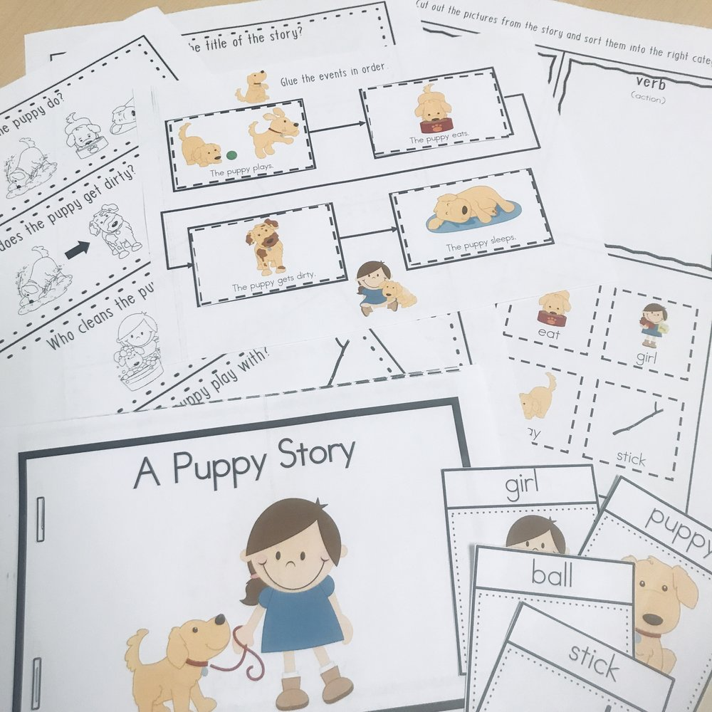 A Puppy Story - Practice sequencing, vocabulary, comprehension questions, and parts of speech with this basic story.