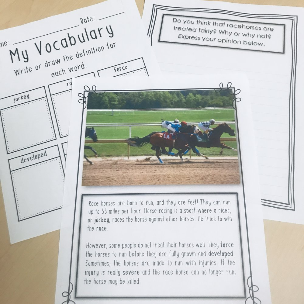 Horse Racing - Target vocabulary and opinion writing related to horse racing.
