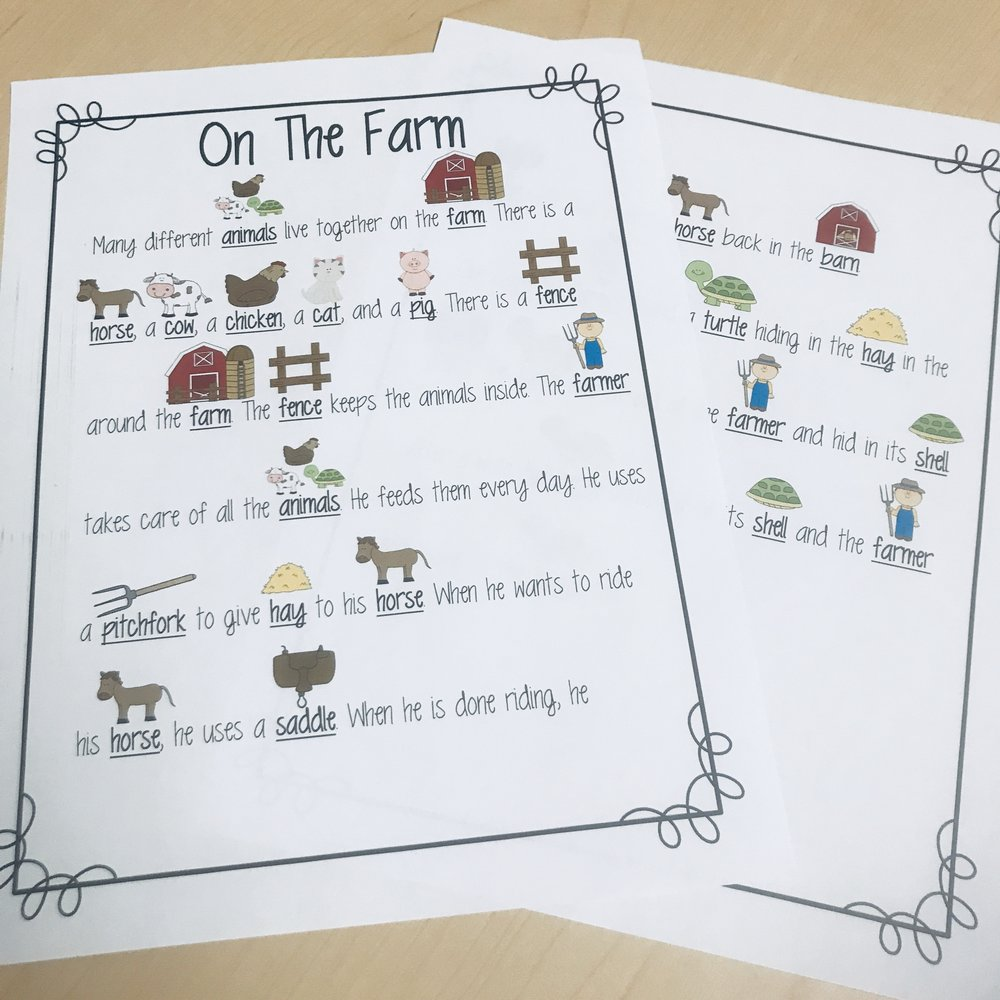 On The Farm - Basic reading comprehension and vocabulary related to the farm.