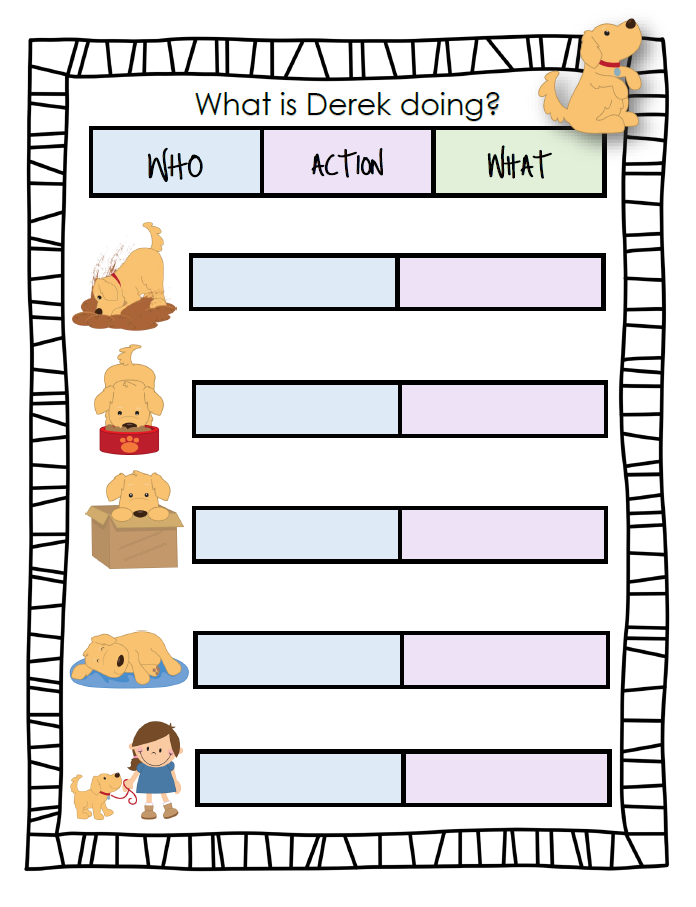 What's Derek Doing? - Target syntax with this interactive PowerPoint and worksheet featuring Derek the dog!