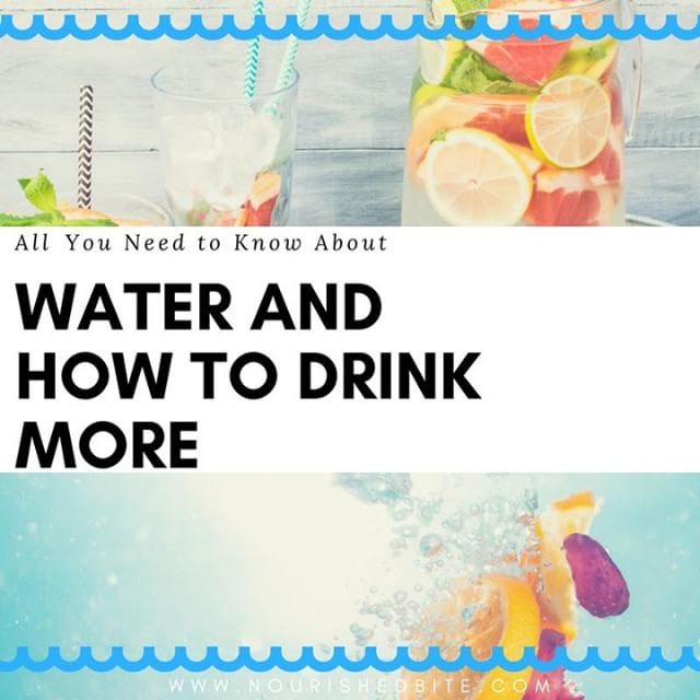 """We're always being told to """"drink more water"""" but why is it so important? Over half of our bodies are made up of water, so even being a little dehydrated can slow you down, impact your mood, and zap your energy.  Here are tips and tricks to get more water, every day!  #Health #nutrition #diet #healthy #goodfood #healthyeats #lifestyle #dietitian #rd #cleaneating #eatclean #wholefoods #water #drinkmorewater"""