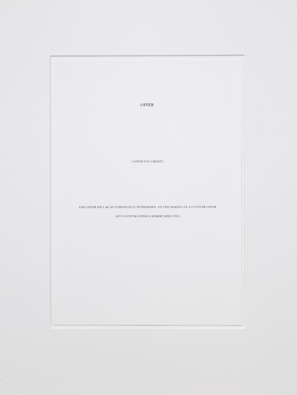 Counter Offer,  Carey Young, 2008, Archival inkjet print, 2 parts, each 21 x 29 cm