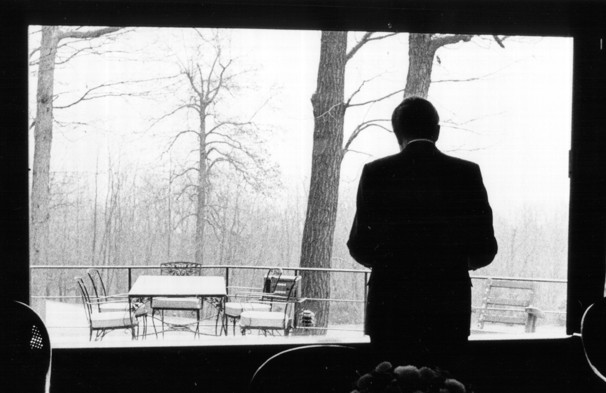 Nixon at Camp David at the height of the Watergate crisis.