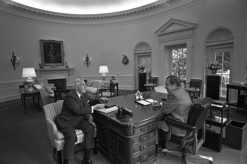 Chief Justice Burger with President Nixon in the Oval Office at approximately the same time that the Court was deciding to re-argue Roe v. Wade and Doe v. Bolton--and just days before the second, disastrous Watergate break-in.  June 1972.