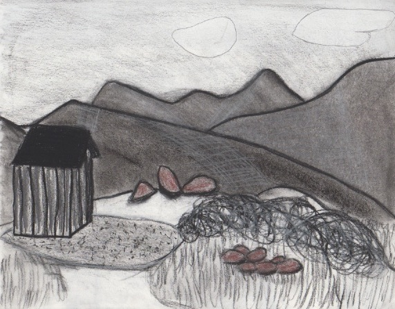 Colorado Mountains 2013. Charcoal, graphite, conte crayon, sketching paper.