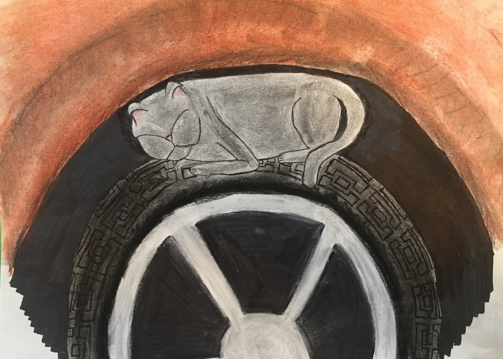 The Akosta Cats -- 1. Smokey . 2017.   Charcoal, ink, graphite, and conte crayon.