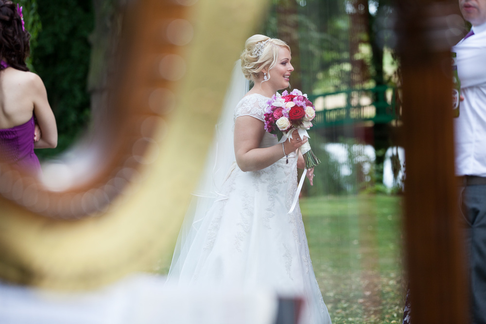 Bride next to harpist