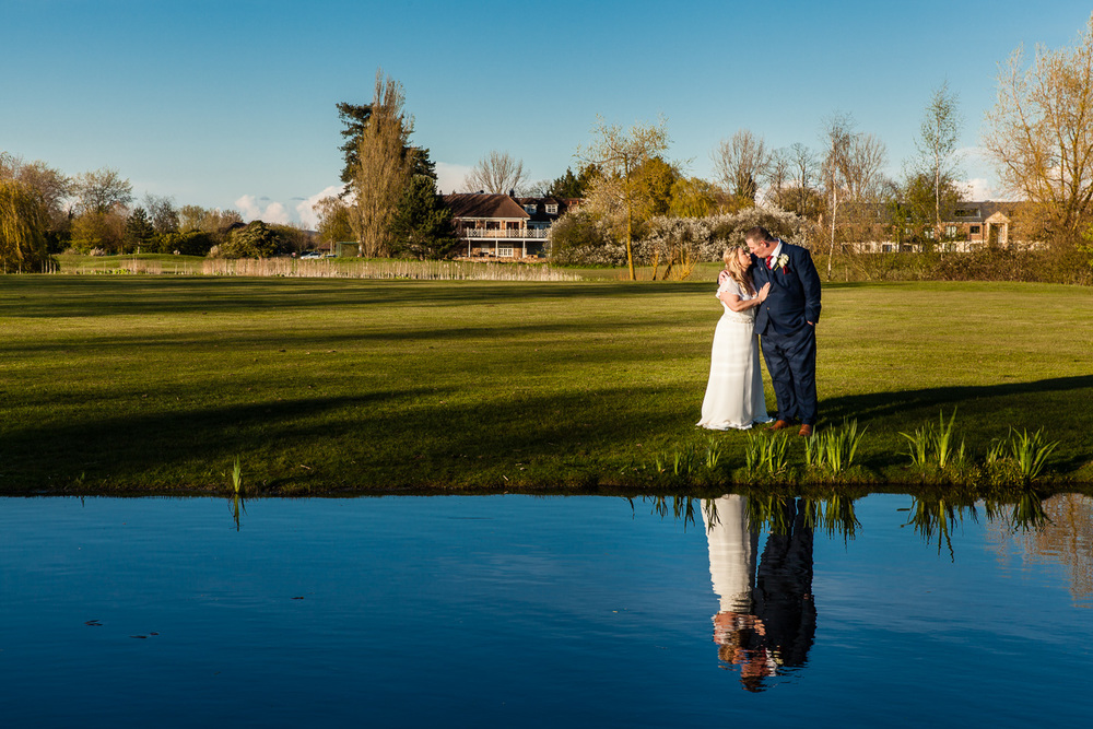 reflection of the couple in the lake