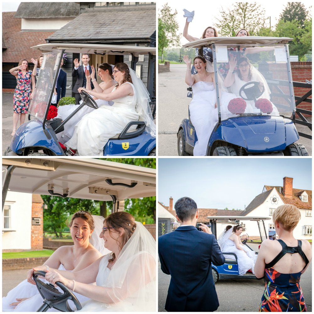 Brides having fun in golf buggy