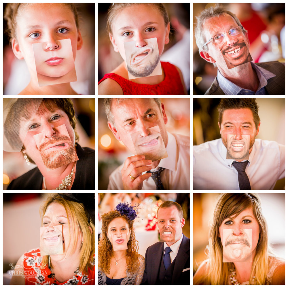 funny masks at the wedding reception