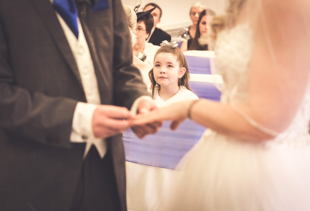 Placing wedding rings on at the alter