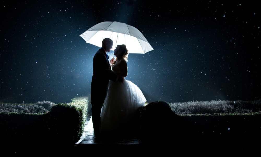 Night time wedding snow shot