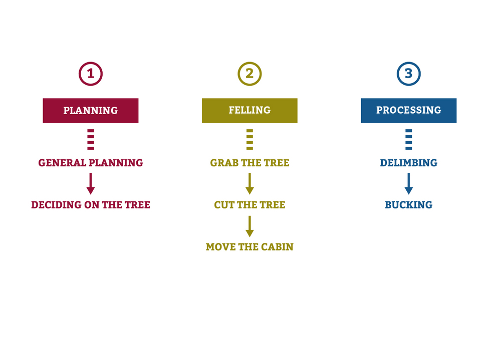 The main three tasks for the operators are Planning, Felling and Processing.
