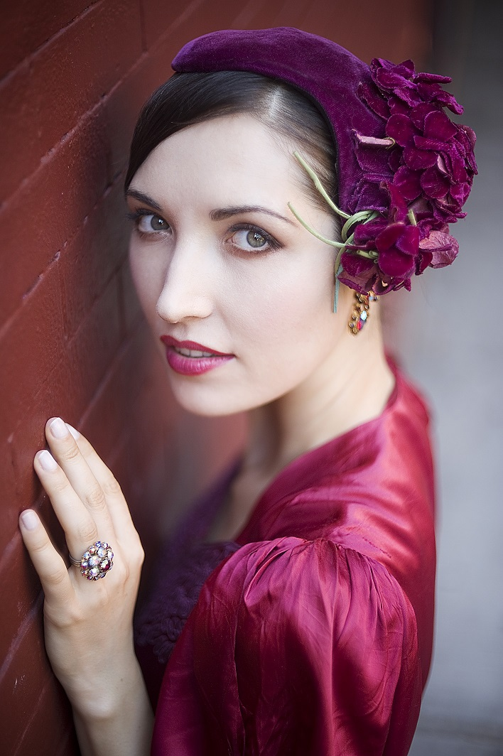1940s Velvet Floral Fascinator Hat_ladyfied.jpg