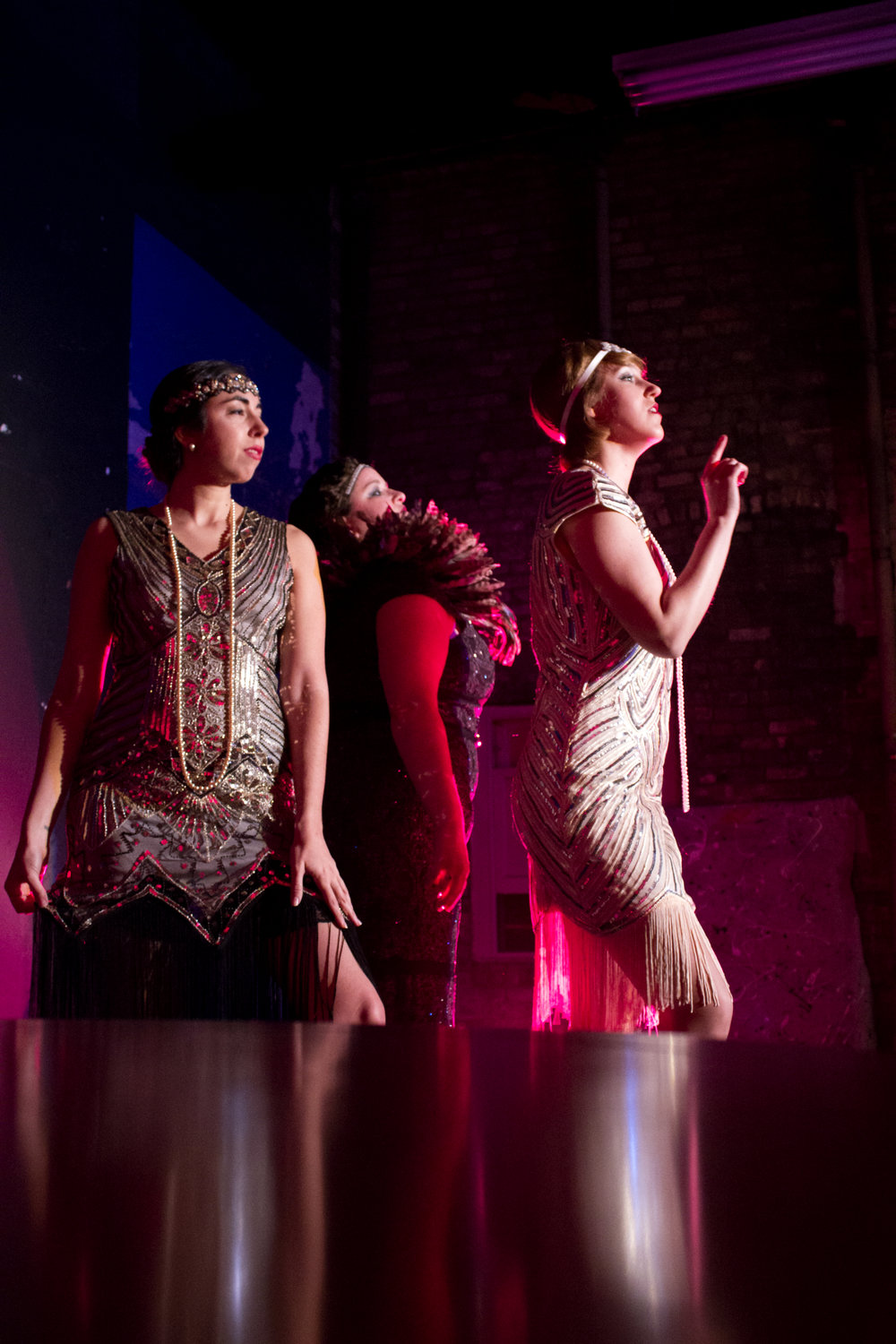 Rebecca Richardson as Lee Miller in Tabula Rasa, with Eugenia Forteza and Allison Gish. Photo credit: Joyce Yin