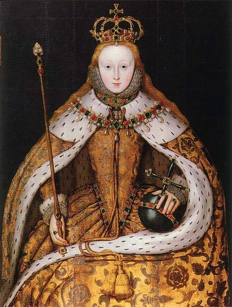 Coronation portrait of Elizabeth I of England. Copy c. 1600-1610 by an unknown painter of a lost original of 1559.