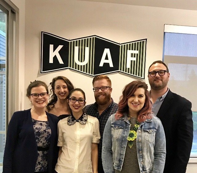 The gang at KAUF after doing an interview and performance for NW Arkansas' public radio station. Photo courtesy of Heather Jones.