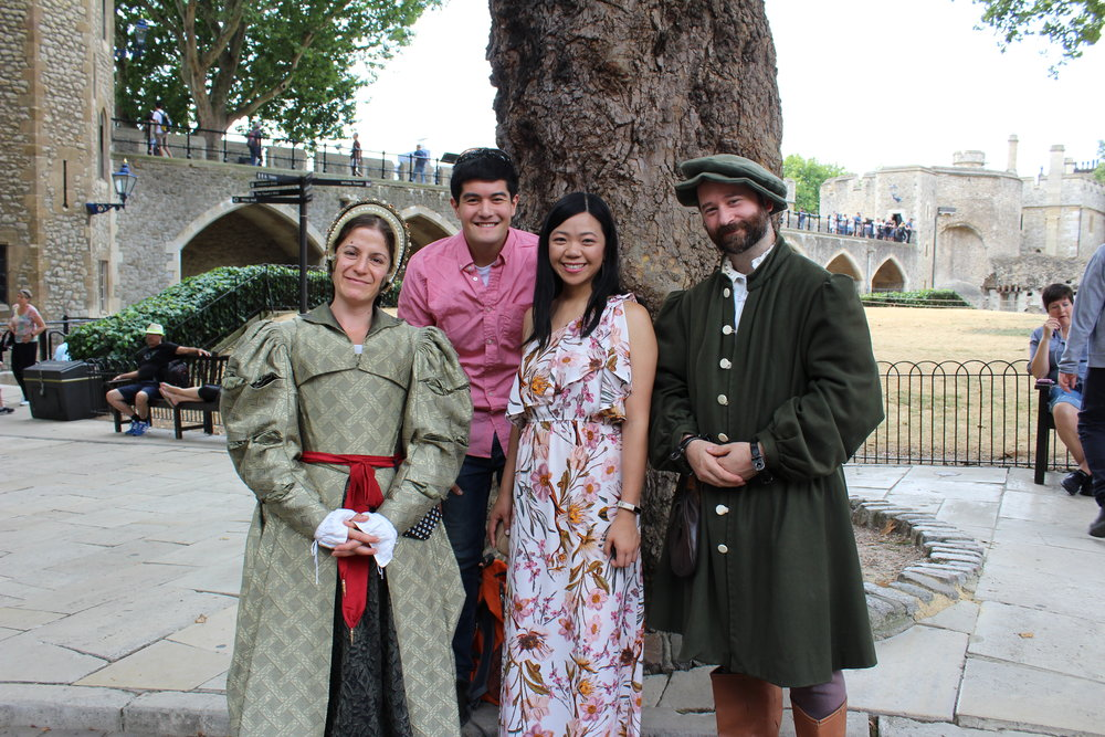 Hanging out with actors at the Tower of London.
